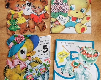 Vintage Childrens Birthday Card Lot 5 Years Old Fifth 1948 Happy Daughter Girls Scrapbooking Gift