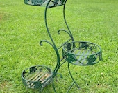 Vintage Metal Plant Stand Tiered Leaves Victorian Garden Style Shabby Chic TLC Folds Up