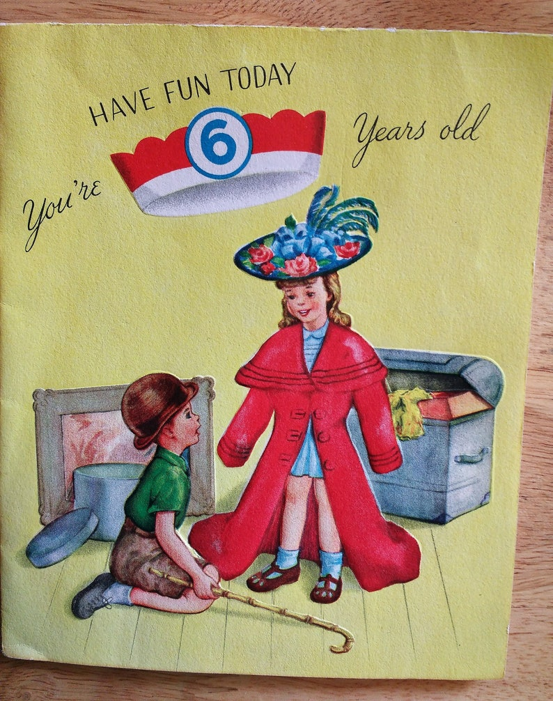 Rare 1940s Birthday Card 6 Years Old 1949 With Paper Hat
