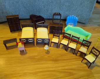 Lot Vintage Renwal Dollhouse Furniture Bedroom Living Room Dining Room phone and Smalls Mid Century MCM