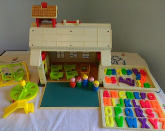 Vintage Fisher Price Little People School Fisher Price School Complete Except for Chalk/erase 1970s #923