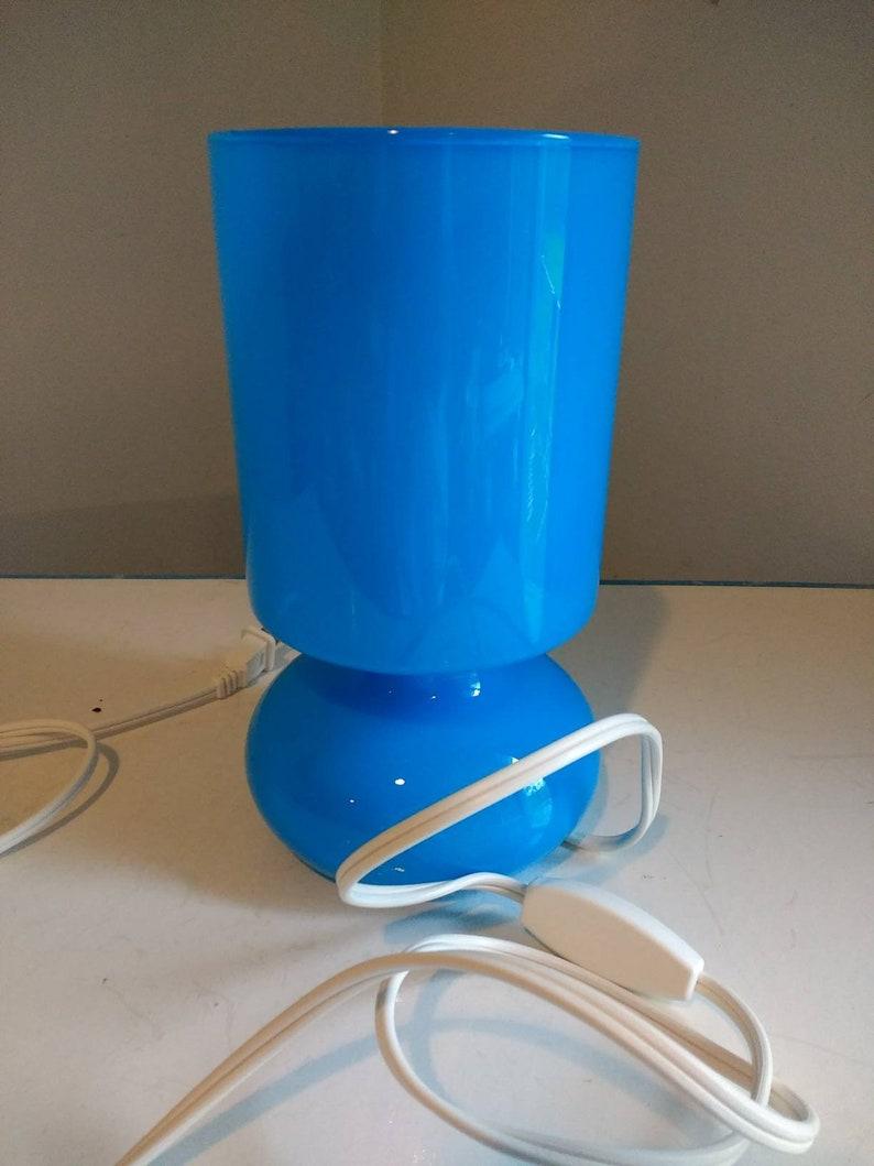 Vintage Ikea Lykta Glass Lamp In Blue Modern Mod Style Bedroom Den