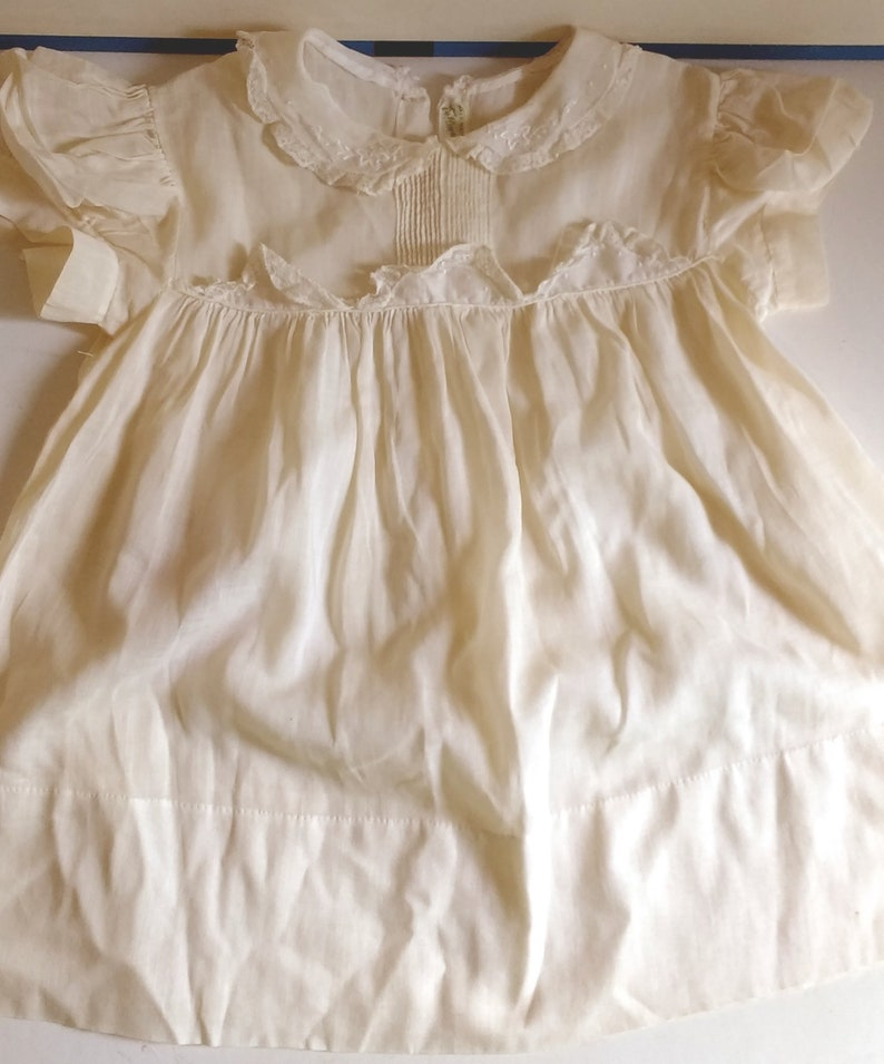 11f8e1e5e324 Antique White Baby Dress With Slip For Composition Doll