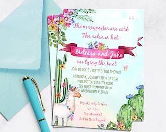Llama Fiesta Bridal Shower Invitation, Cactus Shower Invitation, Fiesta Wedding Shower, Cactus invite, Llama Party, Cactus Invitations