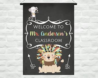 Personalized Teacher Classroom Flag, Custom Teacher Classroom Gift, Chalkboard Classroom Decor,  Jungle Teacher Present, Back to School Gift