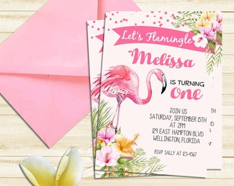 Flamingo Invitation, Let's Flamingle Invitation, Flamingo Birthday Invitation, Luau Pool Party, Printable Invite