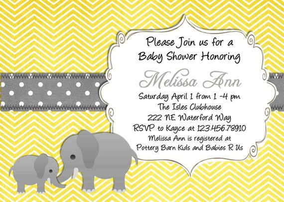 Yellow Elephant Baby Shower Invitation Yellow and Gray