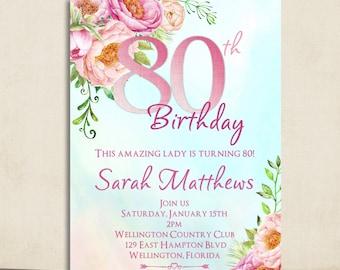 80th Birthday Invitation - Adult Birthday Party Invite - Surprise Birthday - Milestone Birthday Invitation