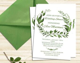 Leaves Wedding Shower Invitation, Gender Neutral Printable Invitation, Spring Bridal Shower Invitation Tropical Green Floral Invite