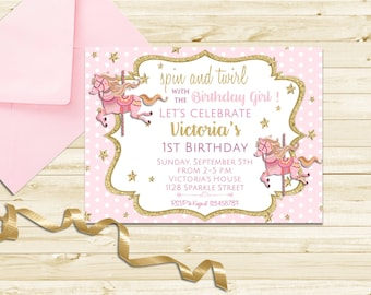 Pretty Carousel Birthday Invitation, Carousel Party Invitation, Pink and Gold Carousel Invitation, Printable First Birthday Carousel Invite