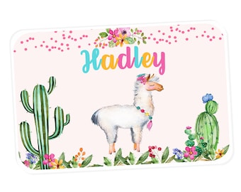 Llama Personalized Placemat -   Placemat for Girls - Laminated Placemat for Kids