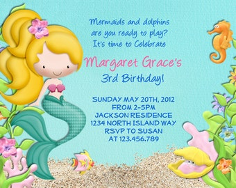 Mermaid Birthday Party Invitation - Under the Sea Birthday Invitation - Little Mermaid Pool Party Invite