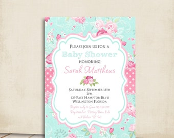 Cottage Chic Baby Shower Invitation Victorian Floral Pink and Blue Rose Printable Custom Invite