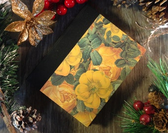 Blank notebook / journal (small), autumn flowers, 128 pages, cotton sheets, fabric hard spine, for sketching, drawing or writing