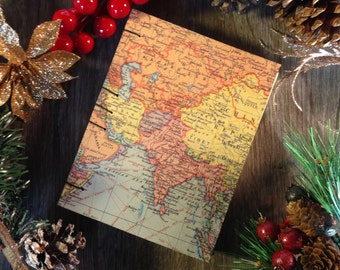 Blank notebook / journal (small), world map, 128 pages, cotton sheets, Coptic stitched spine, for sketching, drawing or writing