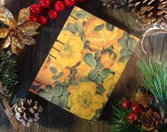 Blank notebook / journal, fall flowers, 128 pages, cotton sheets, Coptic stitched spine, for sketching, drawing or writing