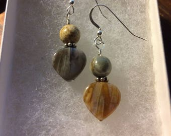 Mismatched Coordinated Sterling & Stone Earrings - Opposites Attract OOAK by Robin Foster