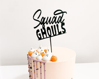 Squad Ghouls Cake Topper - Halloween Party, Halloween Birthday, Cake Topper, Laser cut wood acrylic