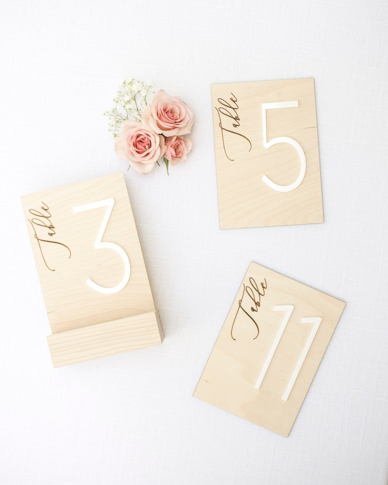 Wood Table Numbers Wood and Acrylic Table Numbers Wooden image 0