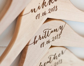 Personalized Bridesmaid Hanger - Laser Engraved Wood - Bride wedding Bridal party gift