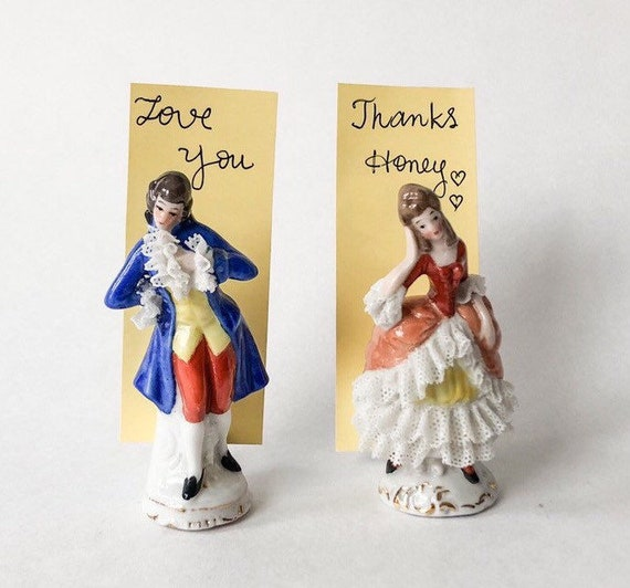 Dolls House Colonial Couple Lady /& Gent Figurines Miniature Ornament Accessory
