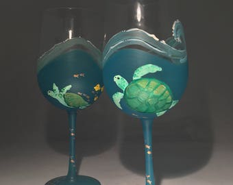 Swirling Waves and Hawaiian Green Sea Turtle Stemmed Wineglasses- Set of 2