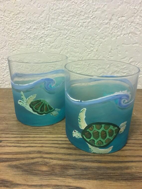 Hawaiian Honu And Humuhumu Fish Sea Glass Waves Scotch Glasses
