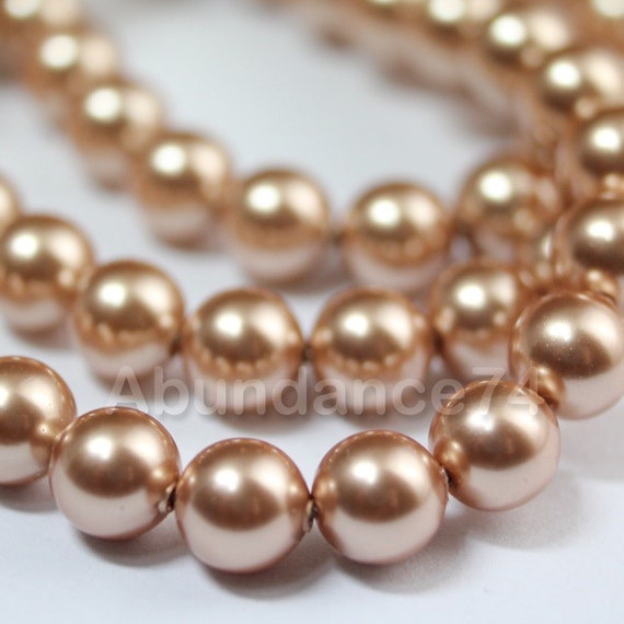 6 pcs Swarovski Element 5810 12mm Round Ball Crystal Pearl Beads Vintage Gold