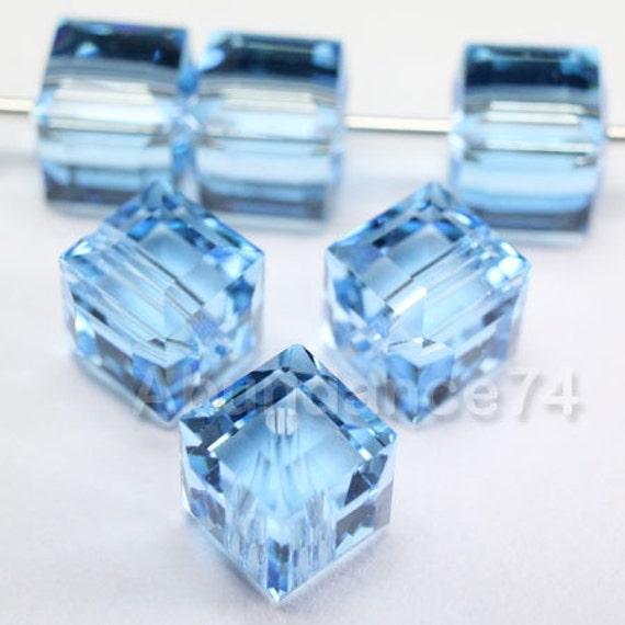 SALE 24 pcs Genuine 6mm Swarovski Element CUBE Crystal beads 5601 TANZANITE