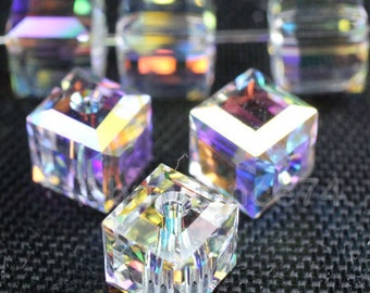 Swarovski Elements Crystal 5601 CUBE - CLEAR AB Chose quantities and Sizes 4mm ,8mm  and 10mm