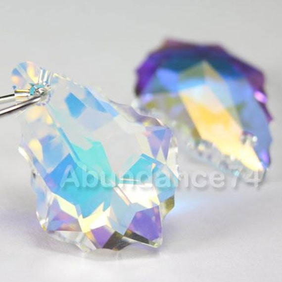 2 pcs Swarovski Elements 5742 14mm Faceted Heart Crystal Beads CLEAR AB