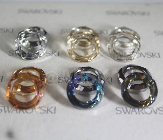 2 pcs Swarovski Element 4139 14mm Cosmic Ring Frame Pendant Crystal Silver Shade
