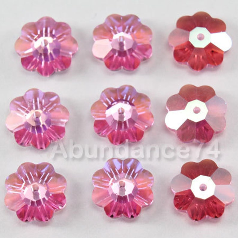 6 pcs Swarovski Crystal 3700 10mm Flower Margarita Lochrose Beads ERINITE