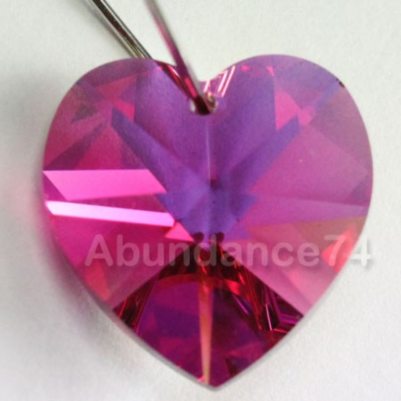 60264ccf2a44f Swarovski Crystal 6228 6202 Faceted Xilion Heart Pendant FUCHSIA AB -  Available in 10mm and 14mm