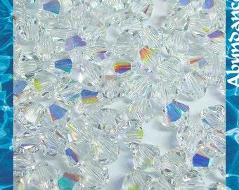 100pcs Swarovski Elements - Swarovski Crystal Beads 5328 4mm Xillion Beads - Crystal Clear Aurora Borealis ( AB )