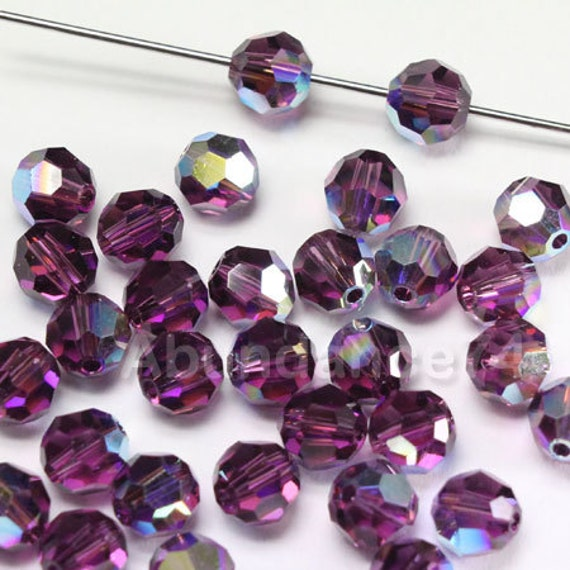 12 pcs Swarovski Element 5000 7mm Faceted Crystal Round Ball Bead Tanzanite