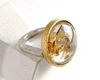 Sculptural golden rutile ring, modern rutilated quartz ring, OOAK ring gift for wife