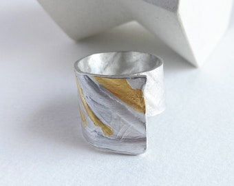 Sterling silver with 24K gold Keum boo ring, ring with palm leaf texture, organic adjustable ring gift for her