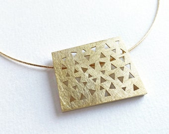 Gold plated pendant, square irregular vermeil pendant, architecture pendant with cutout triangles gift for her