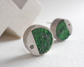 Round druze uvarovite and black diamond earrings, green druze stone stud earrings, gift for contemporary woman