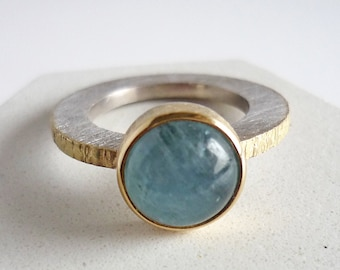Natural aquamarine ring for women, gold silver ring and round aquamarine, modern blue aqua ring gift for her