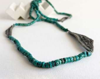 Contemporary turquoise necklace for women, black silver turquoise opera necklace, necklace for a casual and boho outfit