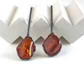 Raw amber earrings gift f...