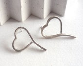 Heart post earrings, long...