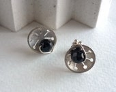 Silver and onyx earrings ...