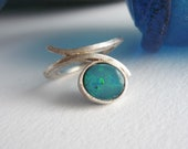 Blue opal and silver ring...