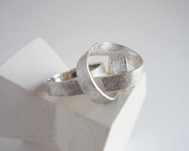 Sculptural silver ring for daring women modern ring in the image 0