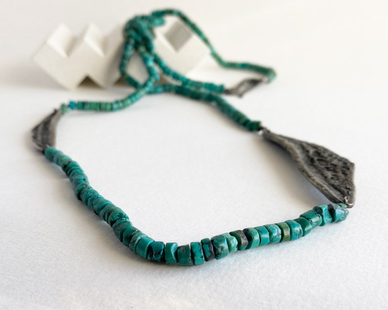 Contemporary turquoise necklace for women black silver image 0