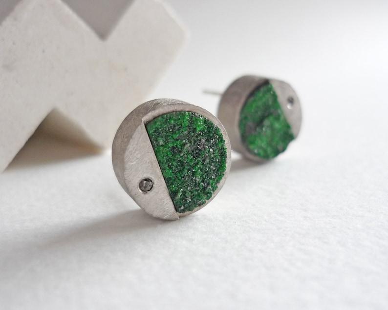 Round druze uvarovite and black diamond earrings green druze image 1