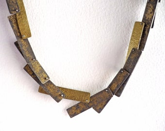 Silver and gold contemporary necklace for women, necklace with rectangular pieces, elegant choker gift for her
